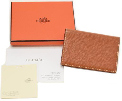 【中古】【美品】HERMES エルメス カード入れ パスケース レザー □J刻印 ブラウン系 カードケース