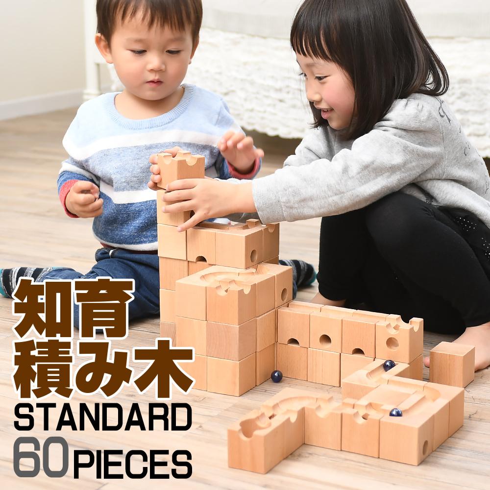 知育玩具 積み木 知育 パズル 60ピース 木製ブロック スタンダード仕様 ピタゴラスイッチ 入学 お祝い プレゼント他社より6ピース多い 送料無料【母の日】