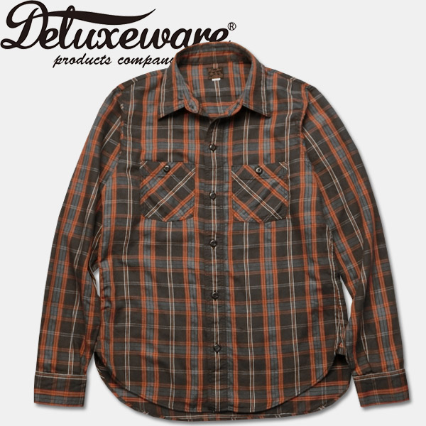 Deluxeware(デラックスウエアー)チェックワークシャツ【LV-08 THROUGH SERGE】HD. BLK