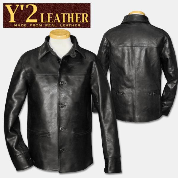 Y'2 LEATHER(Y二皮革)30's汽车大衣黑色