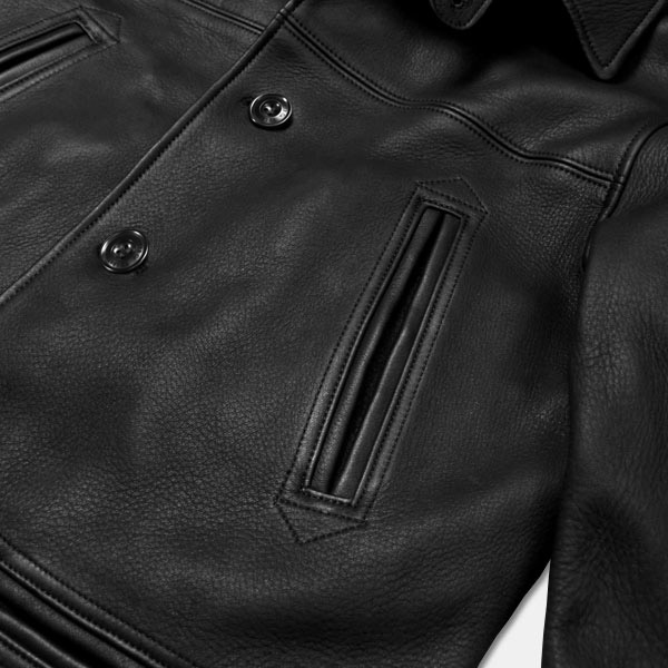 Y '2 LEATHER (with leather) deerskin 30's car coat black