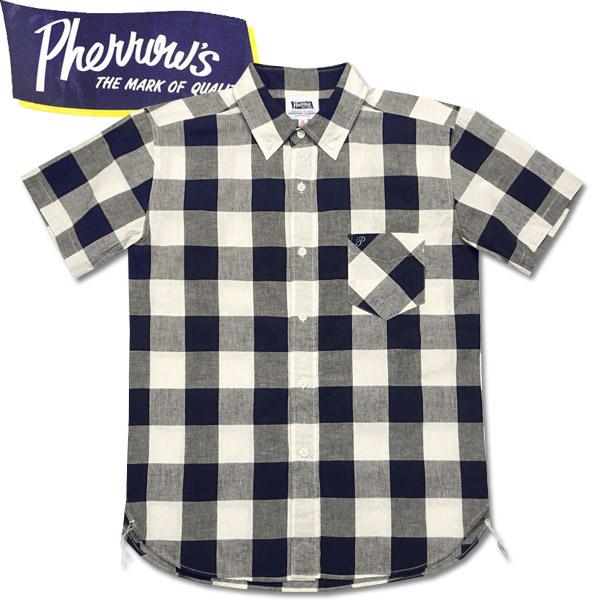 118e7fcc PHERROW'S (Fellowes) short sleeves hemp blend check button-down shirt size  gingham check ...