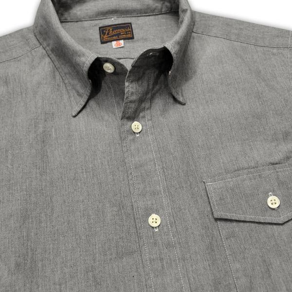5b0cf219 ... PHERROW'S (Fellowes) hidden button down chambray shirt 杢 gray chambray  ...