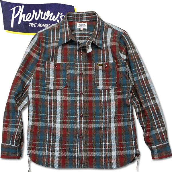 PHERROW'S (フェローズ )長袖チェックネルシャツ【18W-720WS】ブラウン×ライトグレー
