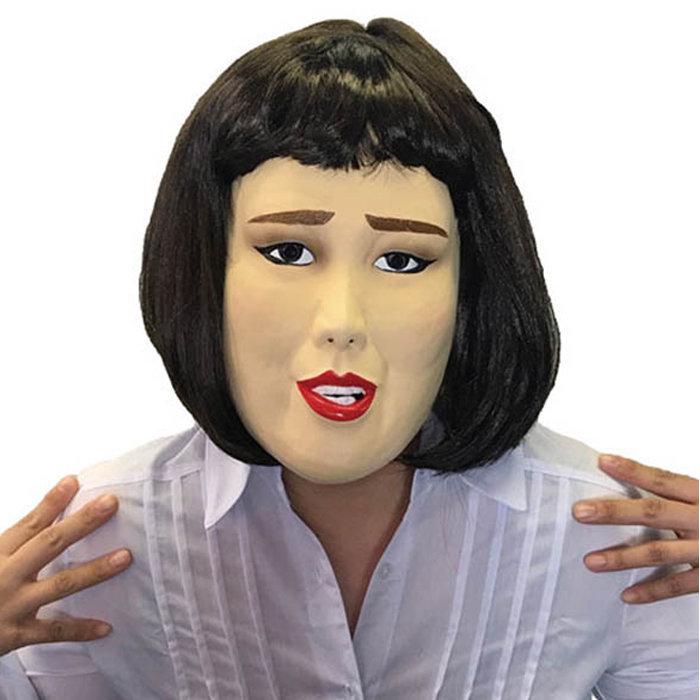 キャリアウーマン 半面マスク ラバーマスク なりきりマスク 宴会 仮装 仮装衣装 タレント パーティーグッズ 芸人 ブルゾン かぶりもの 年中無休 卓抜