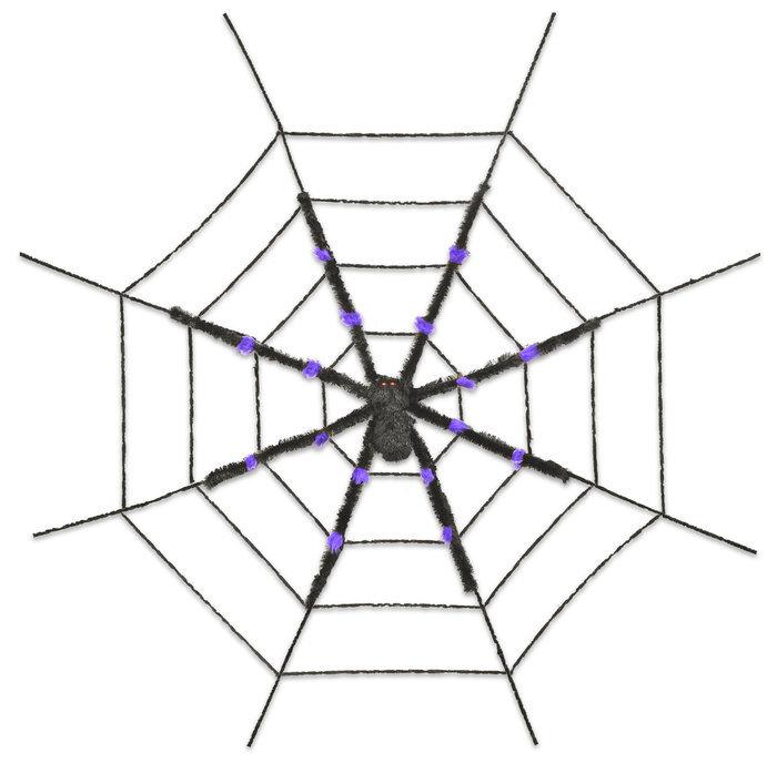 ハロウィン デコレーション 飾り メイルオーダー 在庫限り スパイダーウェブwithパープルスパイダー 蜘蛛の巣 変装 仮装 ハロウィン飾り 装飾 衣装 絶品