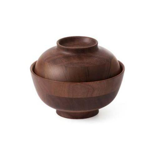 ひきよせ 蓋付椀(3段S)ウォールナット 130135 高さ90(mm)木製 食器/業務用/新品
