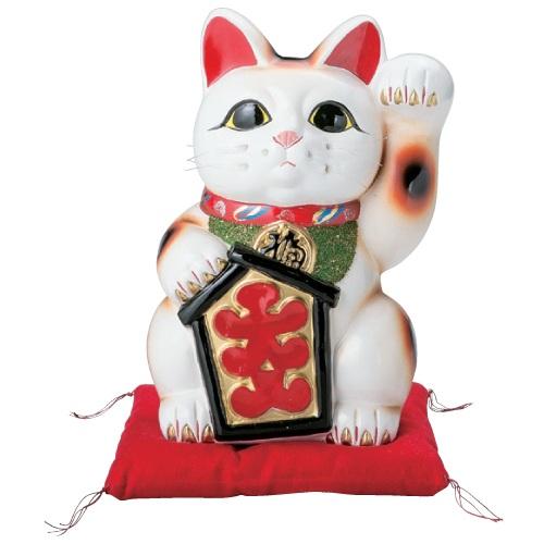 置物 【白大入猫 (左手)(常滑焼)10号 座布団付】 高さ330mm【業務用】