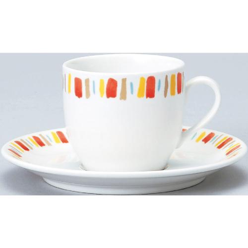 【ダイヤセラム(強化)】【オレンジ十草 コーヒー碗皿】【カップ&ソーサー】【Dia Ceram】 【10個入】