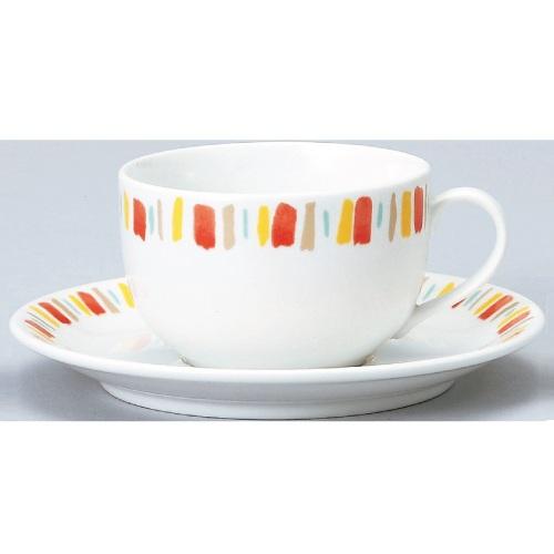 【ダイヤセラム(強化)】【オレンジ十草 紅茶碗皿】【カップ&ソーサー】【Dia Ceram】 【10個入】