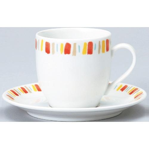 【ダイヤセラム(強化)】【オレンジ十草 アメリカン碗皿】【カップ&ソーサー】【Dia Ceram】 【10個入】【業務用】【グループB】