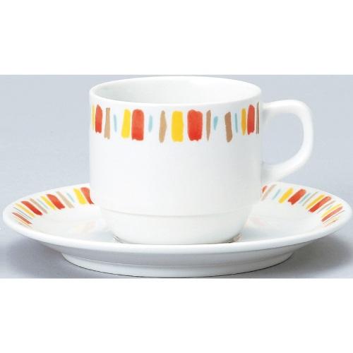 【ダイヤセラム(強化)】【オレンジ十草 スタック コーヒー碗皿】【カップ&ソーサー】【Dia Ceram】 【10個入】【業務用】【グループB】