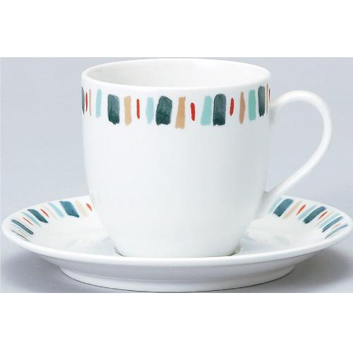【ダイヤセラム(強化)】【グリーン十草 アメリカン碗皿】【カップ&ソーサー】【Dia Ceram】 【10個入】