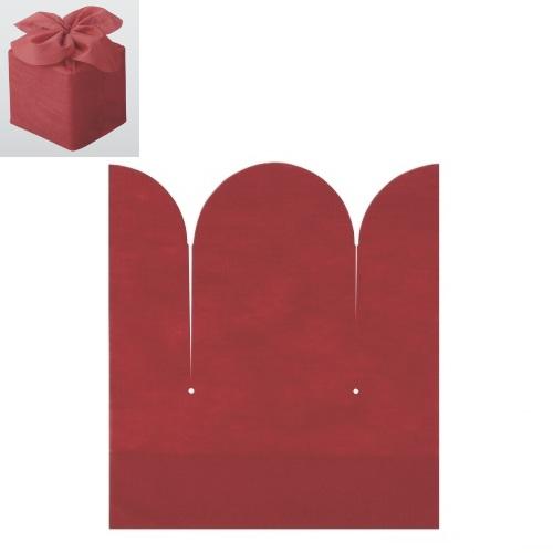 おせち 重箱袋 【お重用結び袋花結び赤(100枚入) 6.5寸用】巾240×高さ240×G100【業務用】【グループD】