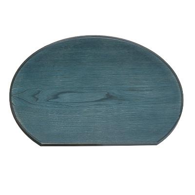 お盆 【木製半月盆藍染尺3】 幅390 奥行346 高さ9 【業務用】【グループD】