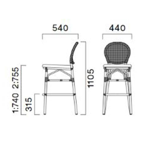 洋風椅子 ARANI1アラニカウンター1 幅440×奥行540×高さ1105、座面高さ:740/業務用/新品/送料無料