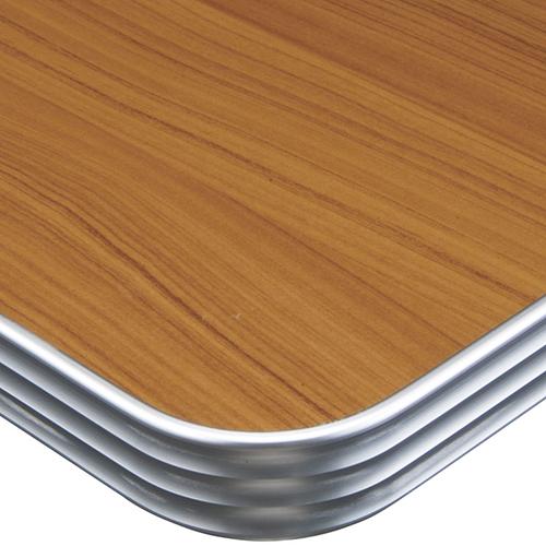 プロシード(丸二金属) テーブル天板 メラミン化粧板(アルミエッジ) ST949-LB-N 幅600×奥行750×高さ30×角80R(mm) 業務用 送料無料