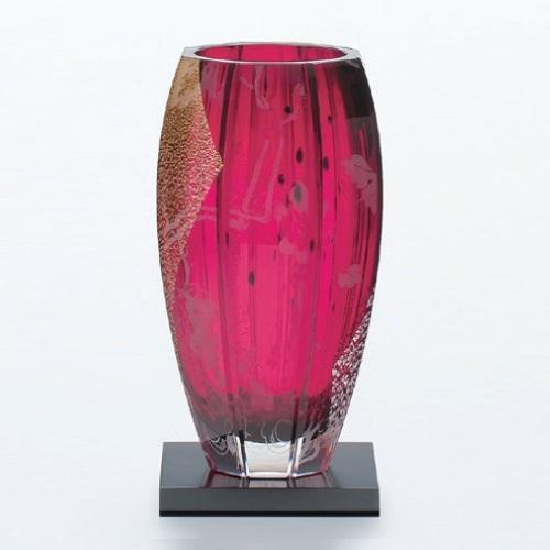 【江戸硝子 紅玻璃 べにはり・花器 ギフト 花瓶(葡萄)】 高さ270(mm)【業務用】【グループP】