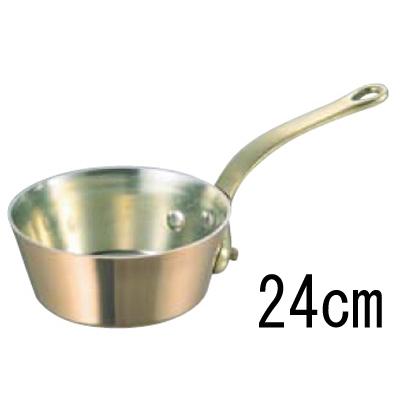 SW 銅 極厚 テーパー鍋 蓋無 (真鍮柄) 24cm 【業務用】【送料無料】