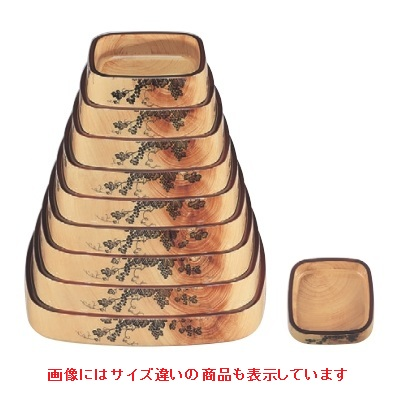 寿司桶 【角D.X桶花梨ブドウ尺4寸】 幅415 奥行415 高さ65 【業務用】【グループI】