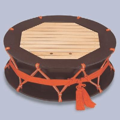 盛器 2尺つづみ盛込器茶乾漆 高さ210 直径:600/業務用/新品