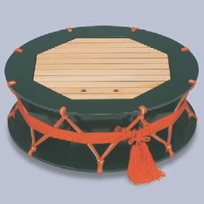 盛器 2尺つづみ盛込器グリーン乾漆 高さ210 直径:600/業務用/新品