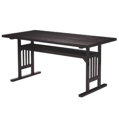 テーブル 格子脚型テーブル メラミン黒木目 幅1500 奥行750 高さ700/業務用/新品