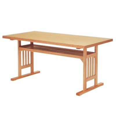 テーブル 格子脚型テーブル メラミン白木 幅1500 奥行750 高さ700/業務用/新品