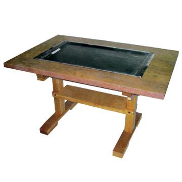 伊東金属 お好み焼きテーブル 幅800×奥行750×高さ700 [IM-280P]【業務用】【送料無料】