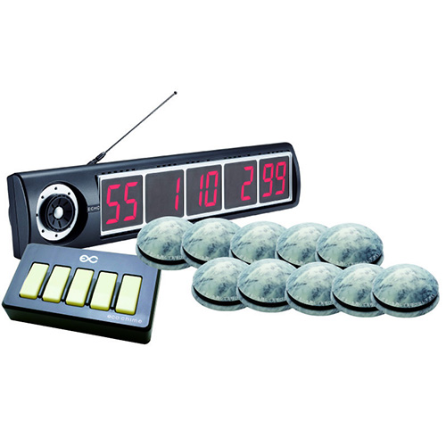 エコチャイム受信表示機/丸型送信機(大理石調)10台セット/送料無料