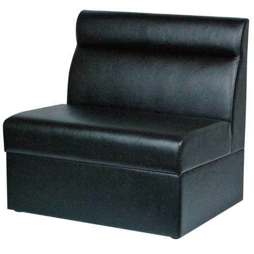 ボックスソファ W750 ブラックレザー 幅750×奥行600×高さ750(mm) 座面高さ:380(mm)【業務用】【送料無料】