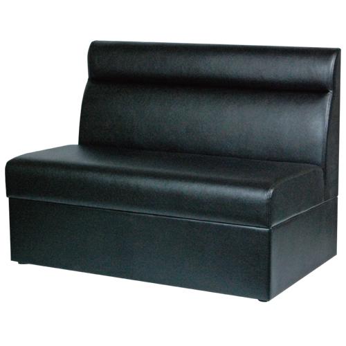 ボックスソファ W1000 ブラックレザー 幅1000×奥行600×高さ750(mm) 座面高さ:380(mm)【業務用】【送料無料】
