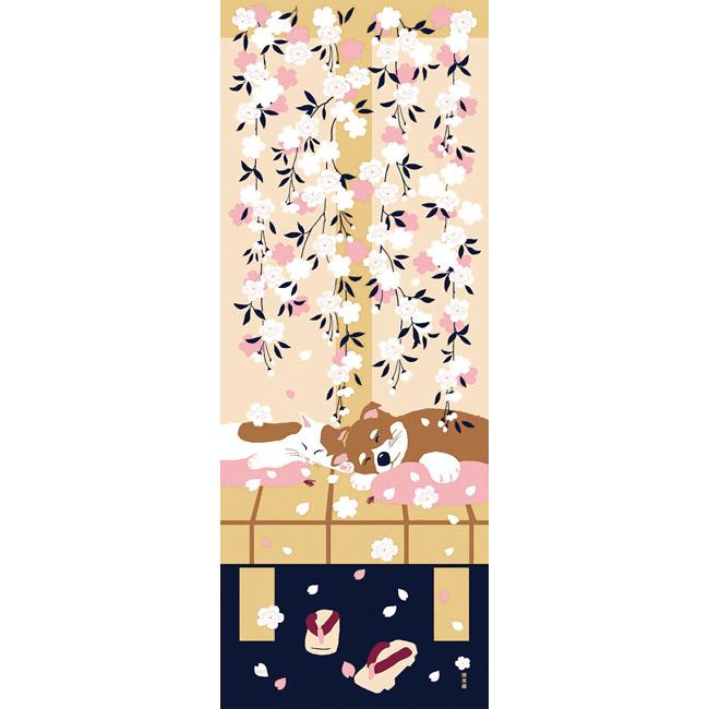 タペストリー濱文様絵てぬぐい豆柴と猫の春ベージュ