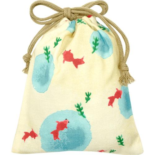 【メール便対応:4枚まで】和柄 巾着袋 濱文様 巾着小 水彩金魚 オフ