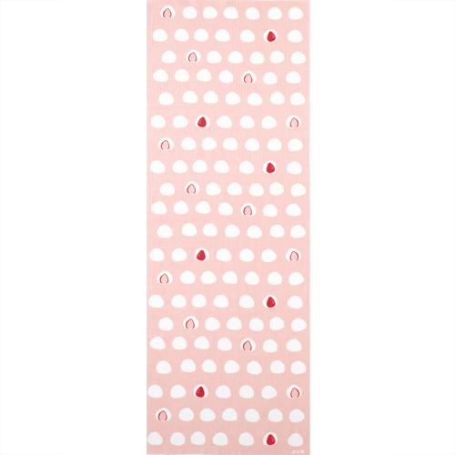 濱文様 てぬぐい いちご大福 ピンク