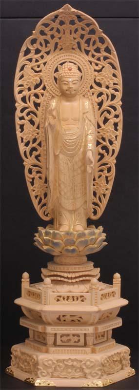 御仏像 阿弥陀如来立像御本尊 [浄土宗用] カヤ六角台淡彩色金具打4.5寸  ●お仏壇・仏具の浜屋