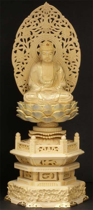 御仏像 釈迦如来座像御本尊 [天台宗用][禅宗用] カヤ六角台淡彩色金具打2寸 ●お仏壇・仏具の浜屋