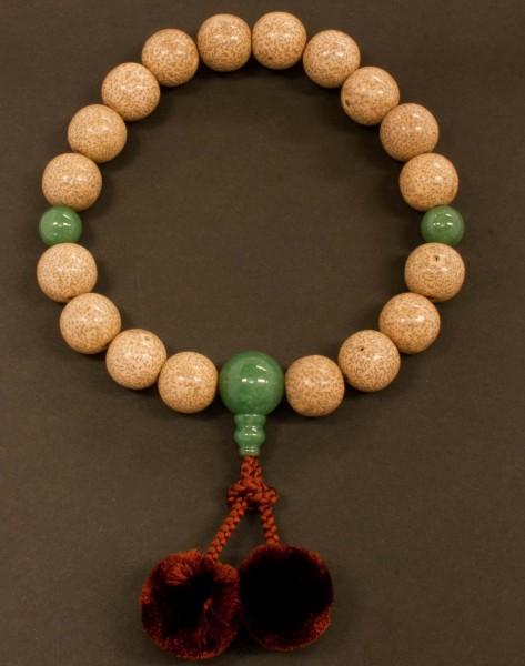 数珠(念珠) 星月菩提樹・翡翠(ヒスイ)仕立 18珠 梵天房 男性用1蓮 ●お仏壇・仏具の浜屋