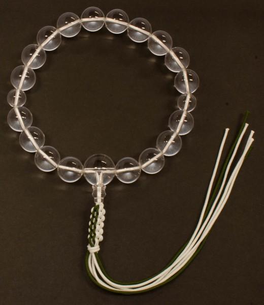 数珠(念珠) 水晶・共仕立 18珠 紐房 男性用1蓮 ●お仏壇・仏具の浜屋