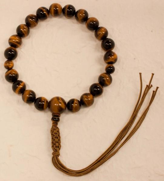 数珠(念珠) 虎目石(タイガーアイ)・共仕立 20珠 紐房 男性用1蓮 ●お仏壇・仏具の浜屋