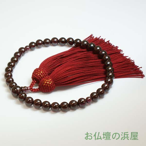 数珠(念珠) ガーネット・共仕立 正絹頭付房 女性用1蓮 ●お仏壇・仏具の浜屋