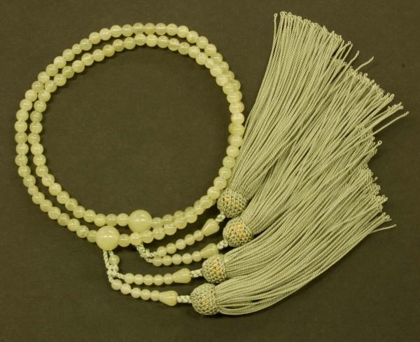 数珠(念珠) グリーンオニキス・共仕立 人絹頭付房 女性用2連 ●お仏壇・仏具の浜屋