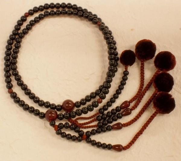 数珠(念珠) 日蓮宗用 黒檀・共仕立 菊房 尺2寸 ●お仏壇・仏具の浜屋