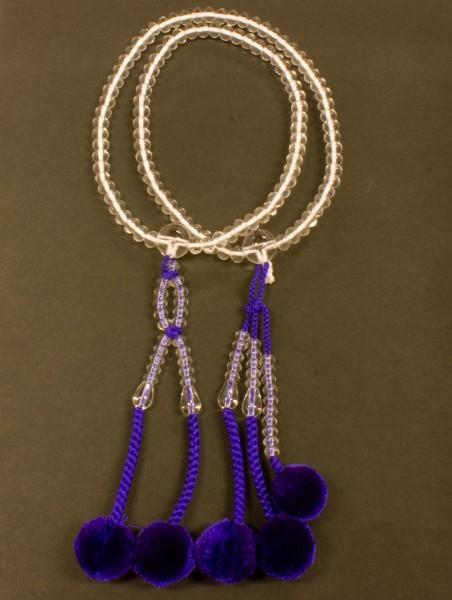 数珠(念珠) 日蓮宗用 本水晶[ミカン玉]・共仕立 菊房 8寸 ●お仏壇・仏具の浜屋