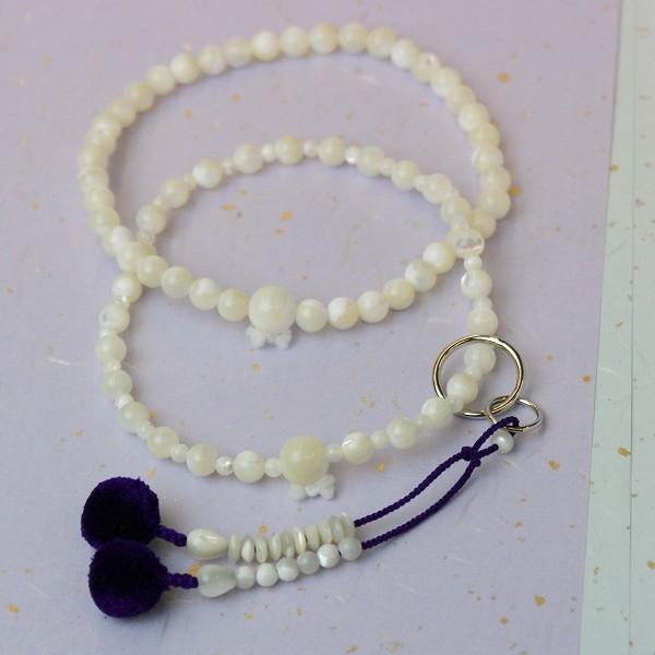 数珠(念珠) 浄土宗用 蝶貝・共仕立 菊房 8寸 ●お仏壇・仏具の浜屋