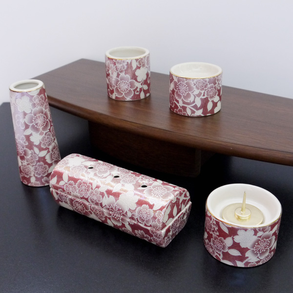[仏具セット] 五具足 ゆい花 筒型香呂5点セット ワインレッド