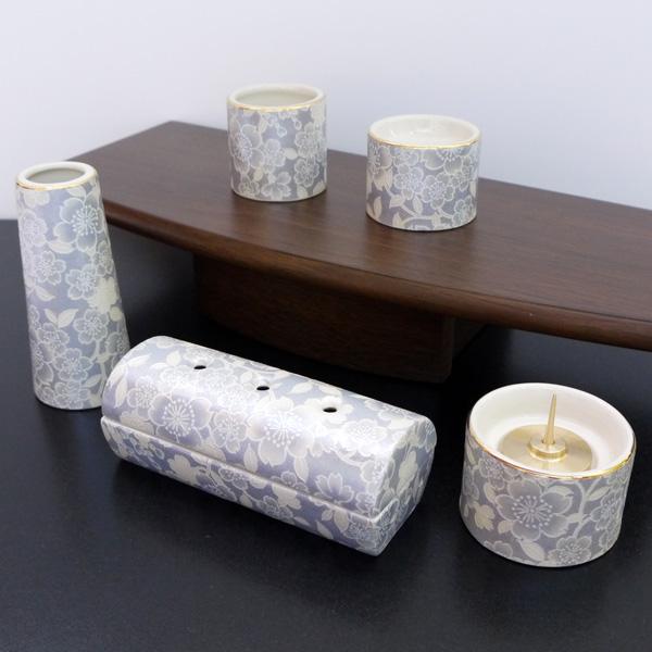 [仏具セット] 五具足 ゆい花 筒型香呂5点セット 藤