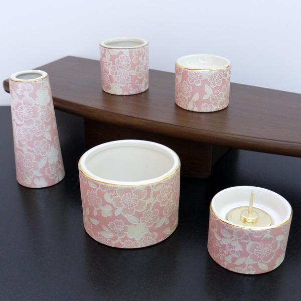 [仏具セット] 五具足 ゆい花 丸型香呂5点セット 桜