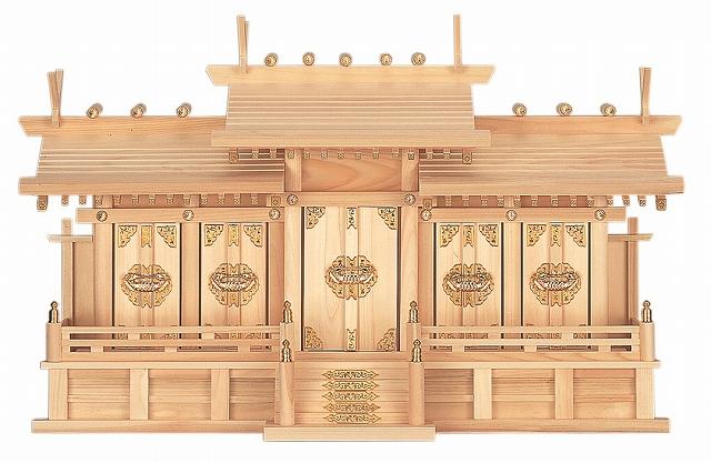 屋根違い五社・中 (ひのき) 横巾85×高さ51cm 【神棚】 ●お仏壇・仏具の浜屋