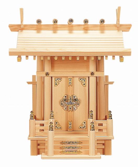大神明丸柱付 (ひのき) 横巾39×高さ46cm 【神棚】 ●お仏壇・仏具の浜屋